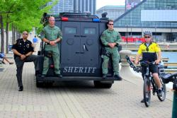 Cuyahoga County Sheriff's Deputies stand ready by the Lake Erie piers (pic: Brian Bull)