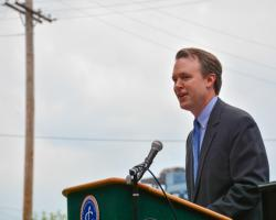 Cuyahoga County Executive Ed FitzGerald speaks at an event in Cleveland on Monday. (Nick Castele / ideastream)