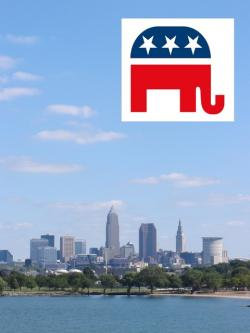 GOP logo and Cleveland skyline (photo by ideastream's Brian Bull)