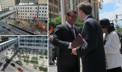 Left: Old P&H buildings in April 2013, and new HQ; right: Fred Geis gives keys to Ed FitzGerald and C. Ellen Connally