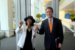 Ed FitzGerald and C. Ellen Connally, with keys to the new Cuyahoga County HQ (pic: Brian Bull)