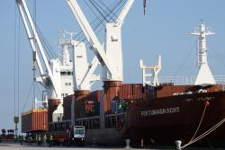The Fortunagracht at the Port of Cleveland in late April (pic: Brian Bull)