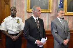 Left to right, Police Chief Calvin Williams, Safety Director Michael McGrath and Mayor Frank Jackson. (file photo)