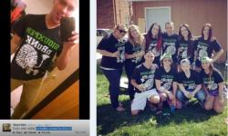 A University of North Dakota student group poses with 'Siouxper Drunk' shirts on Twitter (from CAR report)