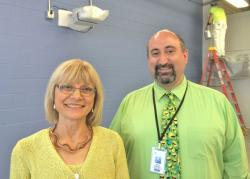 The Center for Arts-Inspired Learning's Marsha Dobrzynski and High School for the Digital Arts principal, John Buzzard