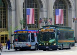 RTA buses line up outside Terminal Tower, near Public Square (pic: Brian Bull)