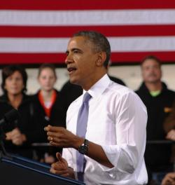 President Obama speaks about manufacturing in a 2013 visit to Cleveland. (Brian Bull / ideastream)