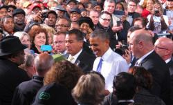 President Obama visits Arcelor Mittal's Cleveland steel plant in 2013. (Brian Bull / ideastream)