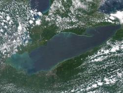 Satellite image of Lake Erie from July 31, 2014. (NOAA)