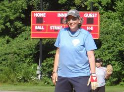 Lori Rosenberg at first base