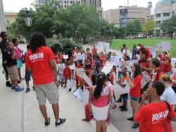 "Schoolkids protest ""zero tolerance"" laws that result in suspensions. (Karen Kasler / Ohio Public Radio)"