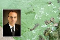 Ohio EPA Director Craig Butler and Lake Erie algae (Ohio EPA; Flickr.com's Ohio Sea Grant)