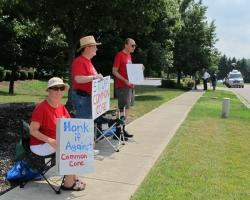 Opponents of the Common Core protest outside Kasich's campaign appearance. (Karen Kasler / Ohio Public Radio)