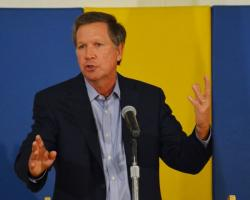 Gov. John Kasich speaks at a bill-signing ceremony in Cleveland. (Nick Castele / ideastream)