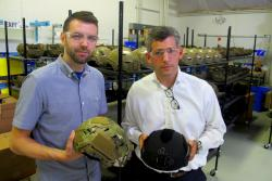 Ron Szalkwowski and Jose Rizo-Patron, with two colors of their ExFil Ballistics Helmet (pic: Brian Bull)