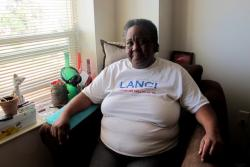 Constance Denson, a tenant and former homeless person living in Buckeye Square (pic; Brian Bull)