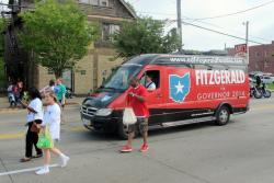 FitzGerald campaign van joins the parade, reaching out to prospective voters (pic: Brian Bull)