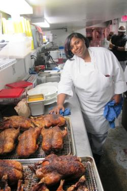 Francine Warren gets ready to work on some orange duck prep (pic: Brian Bull)