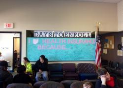 Care coordinators constructed an inspirational billboard for people signing up at Neighborhood Family Practice.