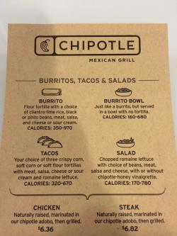 A Chipotle menu uses a range technique to lable food.