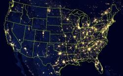 Night lights create a dazzling aerial view, but 24/7 lighting harms ecosystems and human health.