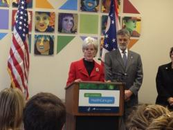 U.S. Health and Human Services Secretary Kathleen Sebelius speaks at a health center with Cleveland Mayor Frank Jackson.