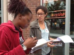 Canvassers in Cleveland Heights when the push for enrollment began in last year.