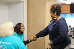 Patricia Banks, 60, thanks MetroHealth workers for helping her begin enrollment in Medicaid.