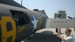 The 50 caliber machine gun port of the Memphis Belle