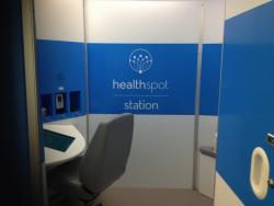 Once inside the kiosk, patients can take a seat and close the door before contacting a doctor on the screen.