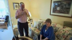 Jim Traxler plays trumpet for his wife Karen. They shared a love of music before Karen's dementia progressed.