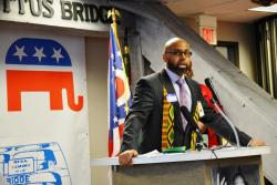 The Ohio GOP's Brian Barnes speaks at a Martin Luther King Day celebration in Cleveland.