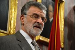 Cleveland Mayor Frank Jackson briefs reporters on the city budget.