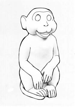 This is the Sketch of the Monkey used to make the sculpture