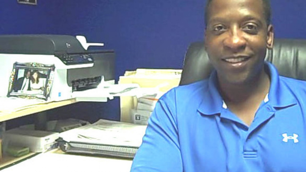 Eric Maynard's at his desk and ready for business