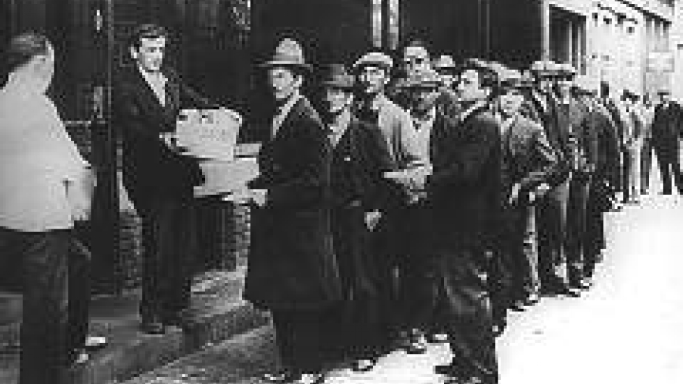 A breadline during the Great Depression