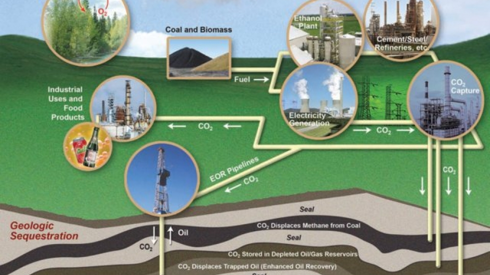 Carbon storage process.  Image credit:  DOE.