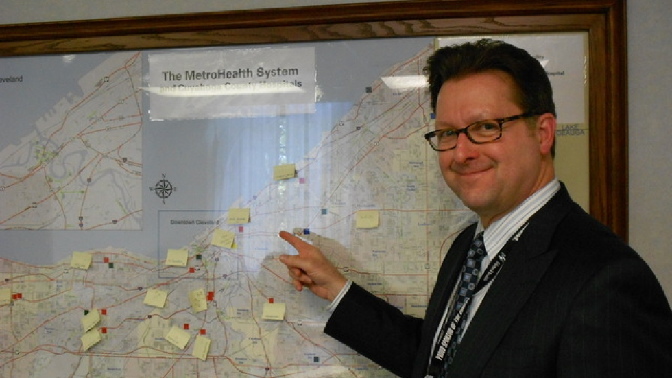 MetroHealth's Chief Administrative Officer Dan Lewis, surveying competition across Cuyahoga County (pic by Brian Bull).