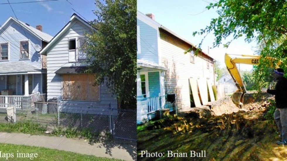 3127 West 52nd Street, before - and after - demolition. It's among 11,000 homes that need to be razed in Cuyahoga County (pic by Brian Bull)