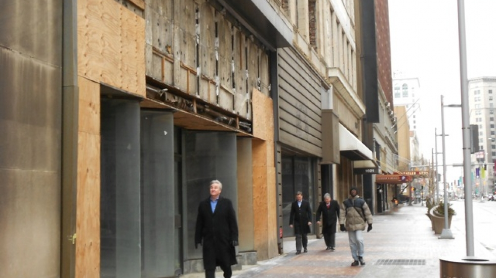 Many buildings along the Euclid Corridor remain boarded up and closed, particularly between 9th and 12th Streets (pic by Brian Bull)