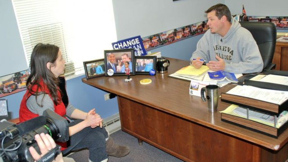 Mhari interviewing Lordstown union official during production of <i>Towns on the Edge</i>