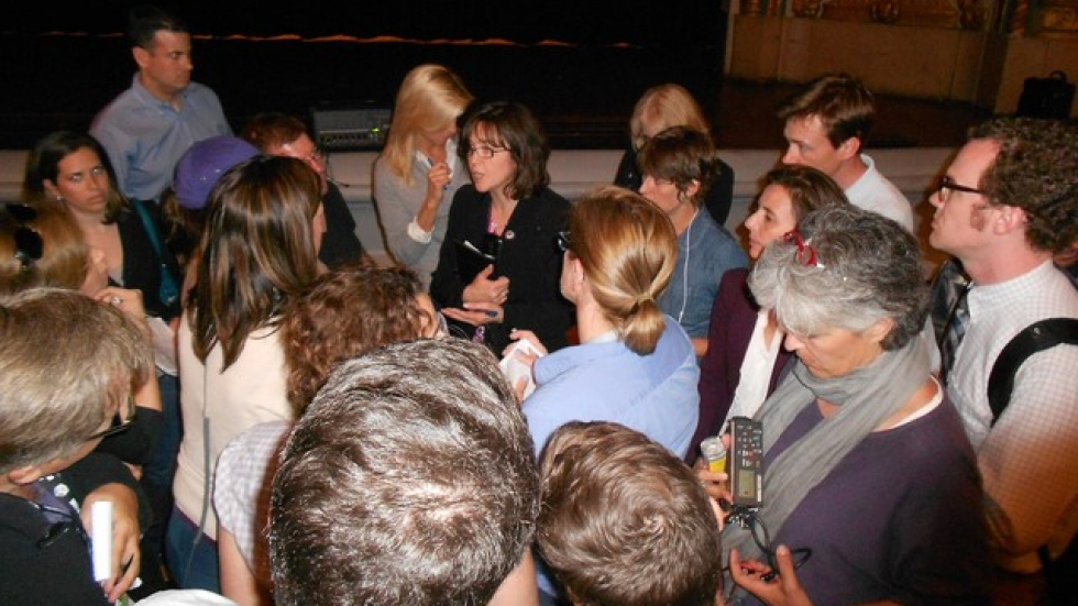 Journalists surround Maureen Harper, spokeswoman for the City of Cleveland (pic by Brian Bull)