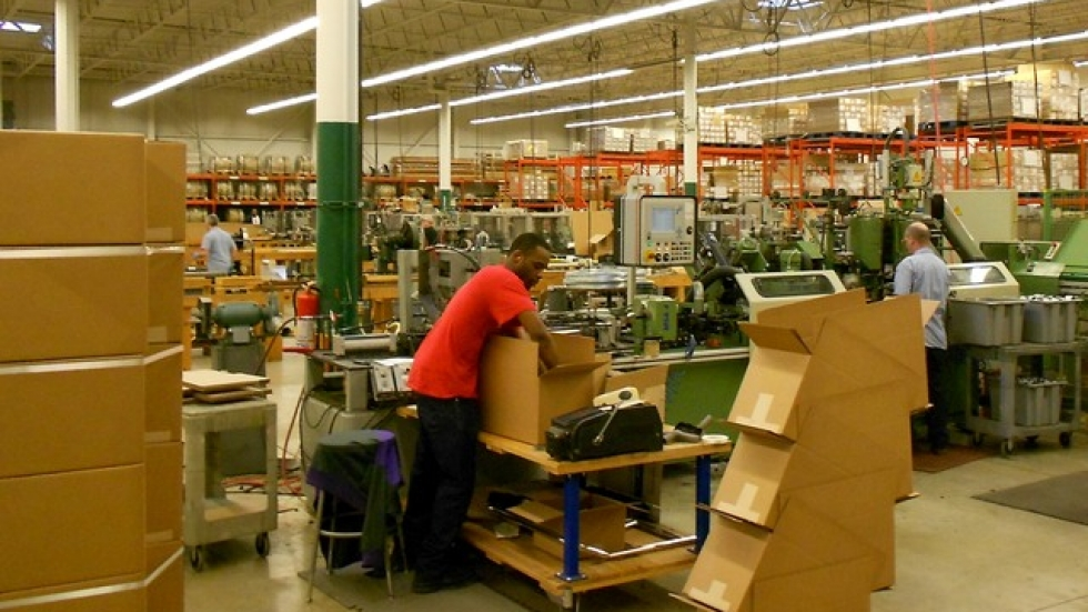 Workers inside Precision Brush's main production area (pic by Brian Bull)