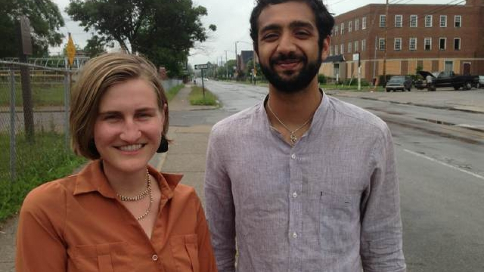 Angie Schmitt and Akshai Singh, who oppose the Opportunity Corridor plan as it now stands. (Nick Castele / ideastream)