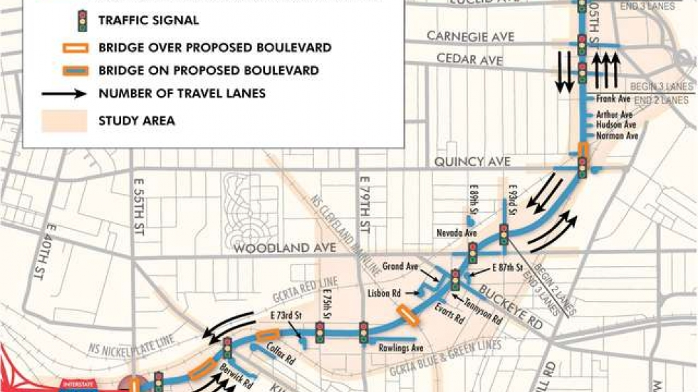 Map of the current plans for the Opportunity Corridor. (Source: ODOT)