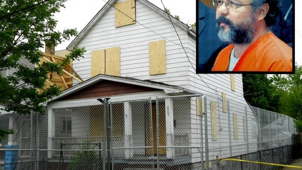 Ariel Castro (inset) and 2207 Seymour Avenue, where he kept three women captive for years (photo by Brian Bull)