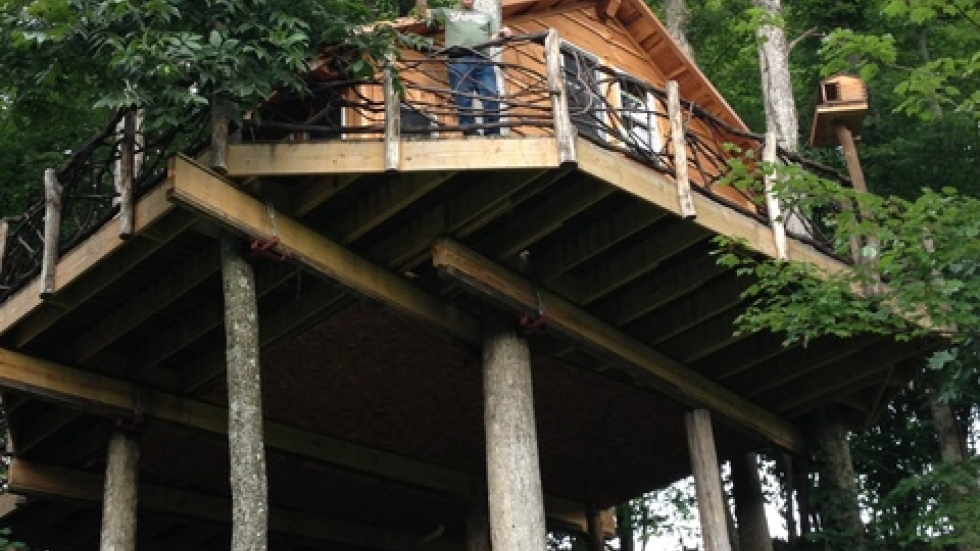 Guest David Brice looks out from one of the treehouses at Mohican Cabins (photo courtesy of Lisa Brice)