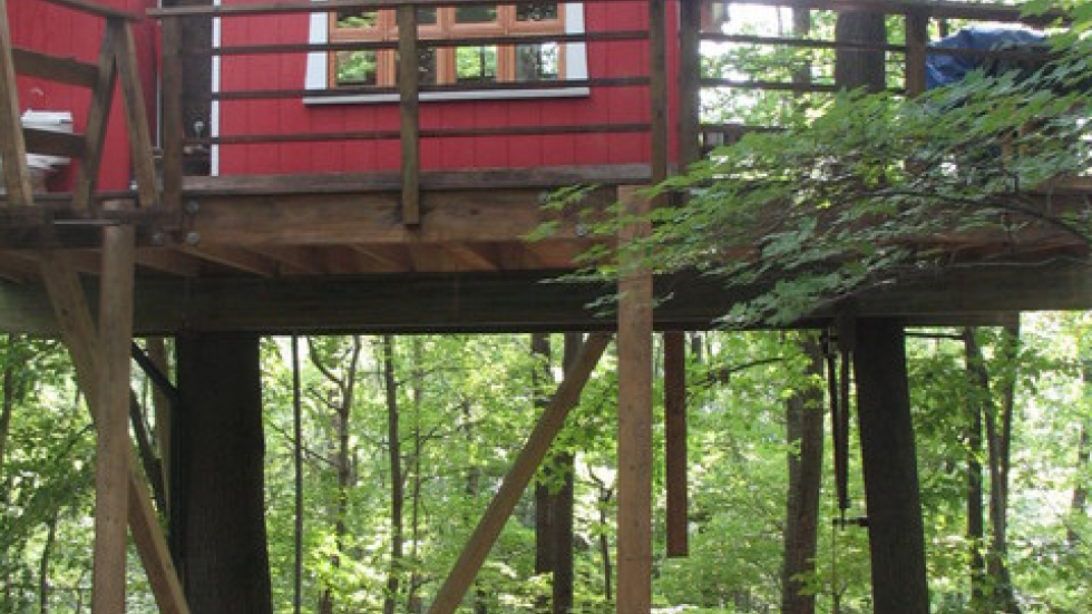 The second treehouse at Mohican Cabins is meant to resemble area barns (photo by Brian Bull)