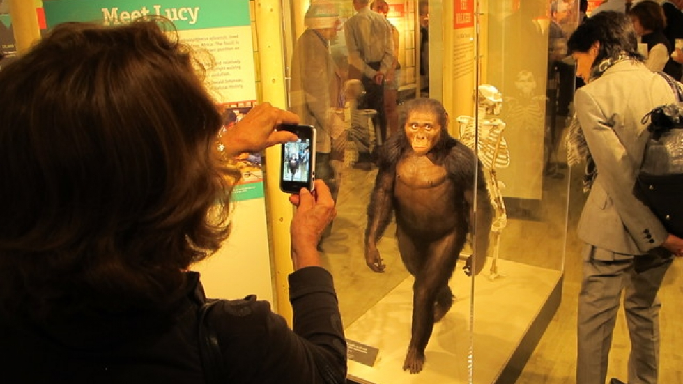 Visitors pose and snap shots of the latest reproduction of Lucy (pic by Brian Bull)