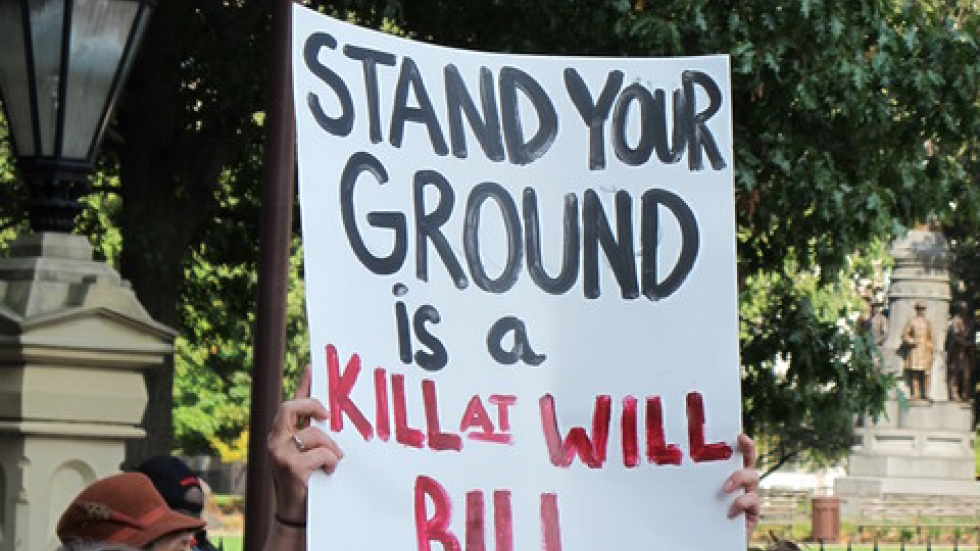 Protesters gather to oppose Ohio's Stand Your Ground bill in Columbus in October.